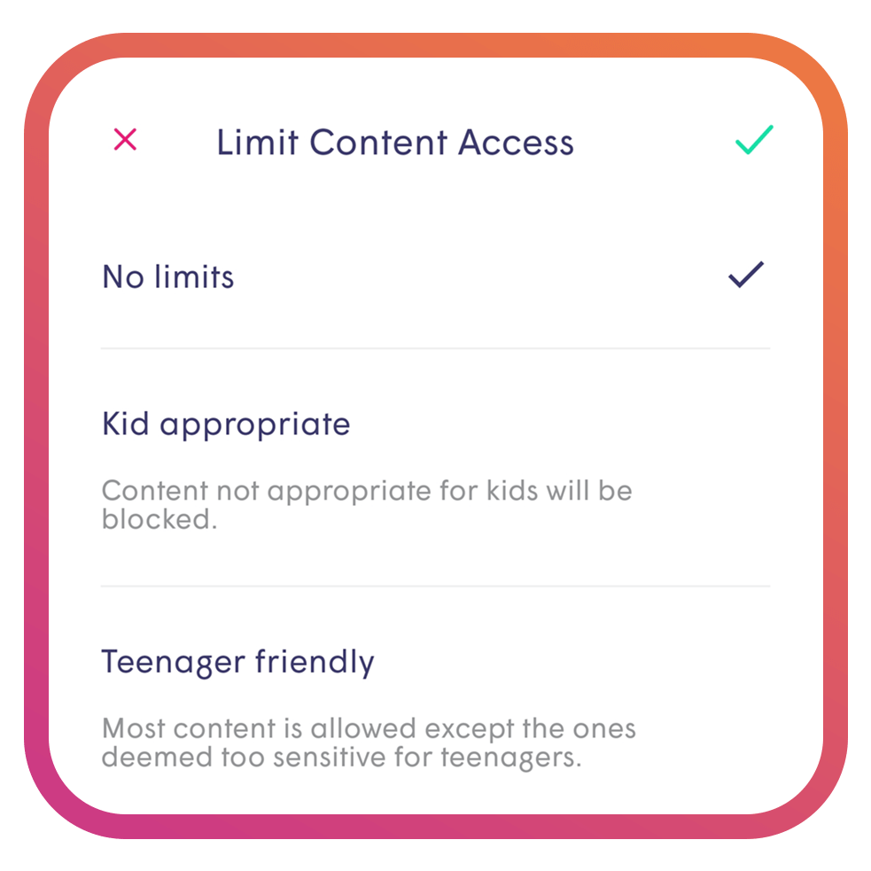 Parental Controls on Plume Homepass Application