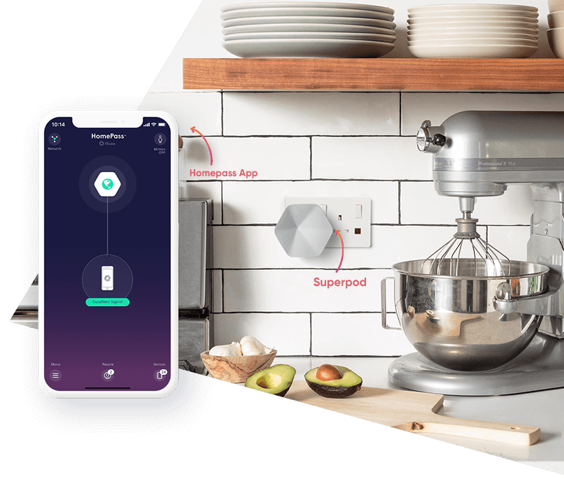 Superpod plugged into kitchen socket with Homepass app open on Apple Smartphone